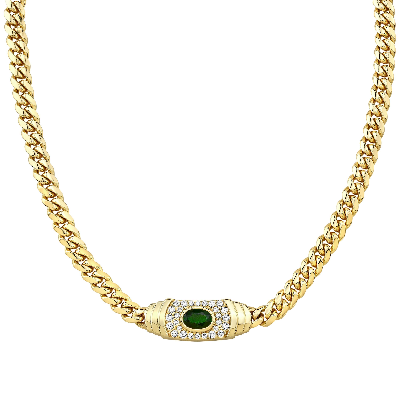 14k Yellow Gold Diamond Green Tourmaline Miami Cuban Link Mini Necklace