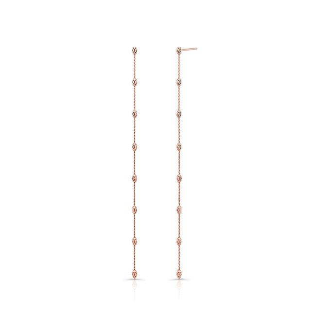 14k Rose Gold Diamond Cut Beaded Drop Earrings