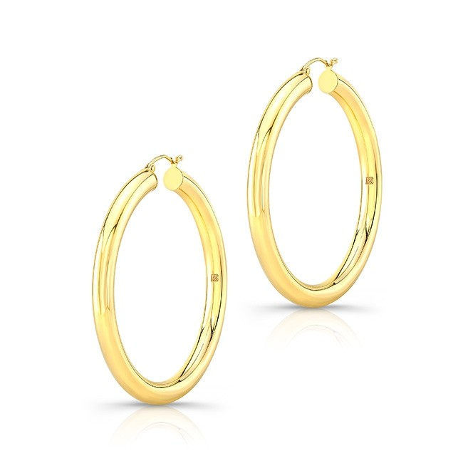 "14K Yellow Gold 2"" Tube Hoops"