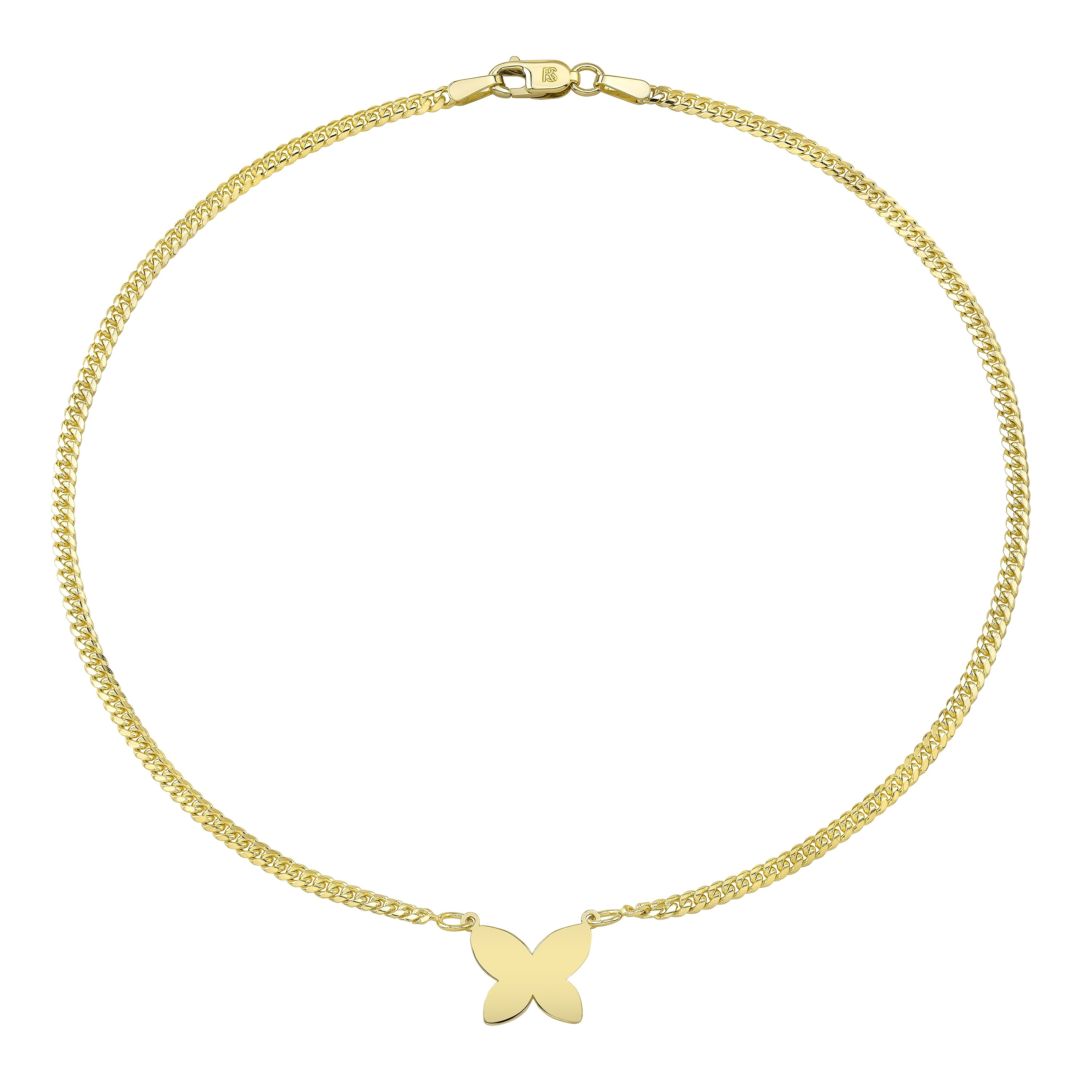 14k Yellow Gold Butterfly Mini Miami Cuban Link Anklet