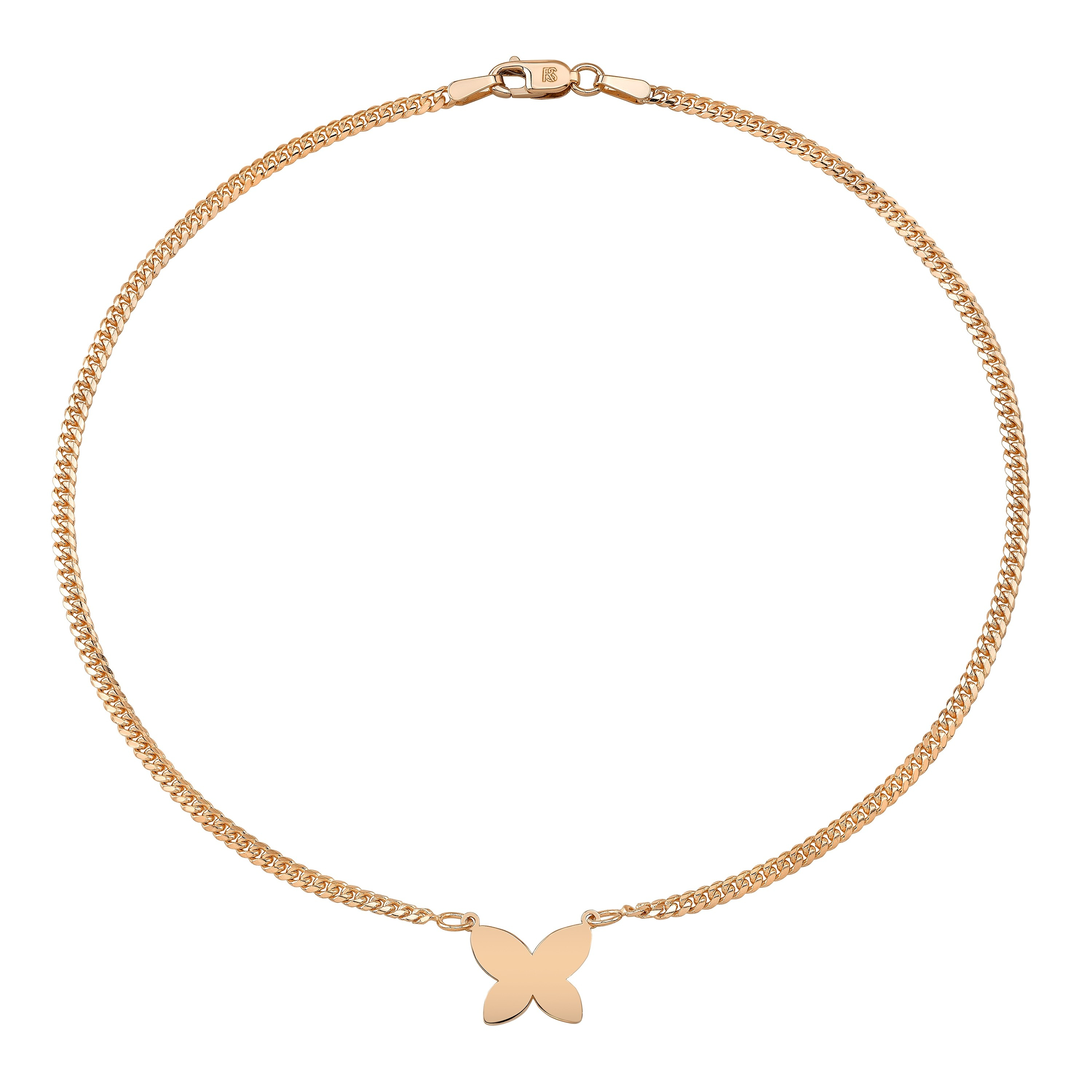 14k Rose Gold Butterfly Mini Miami Cuban Link Anklet