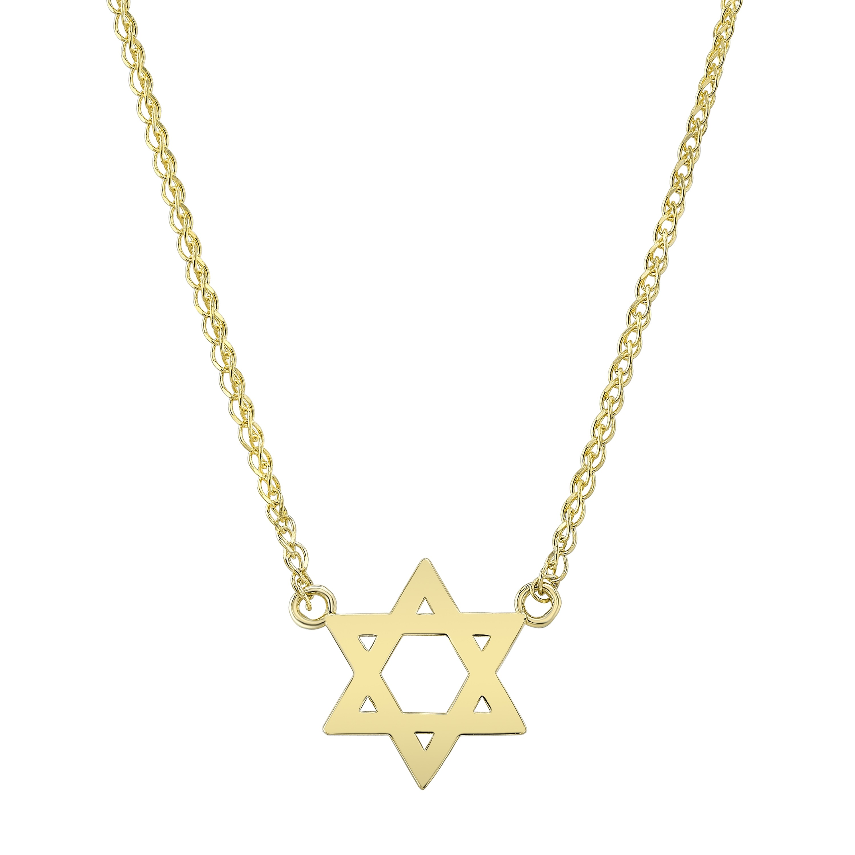 14k Yellow Gold Floating Star of David Necklace