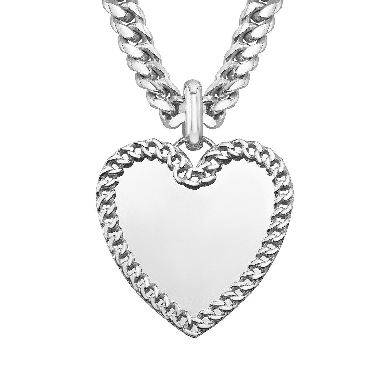 14k White Gold Cuban Link Jumbo Heart Charm