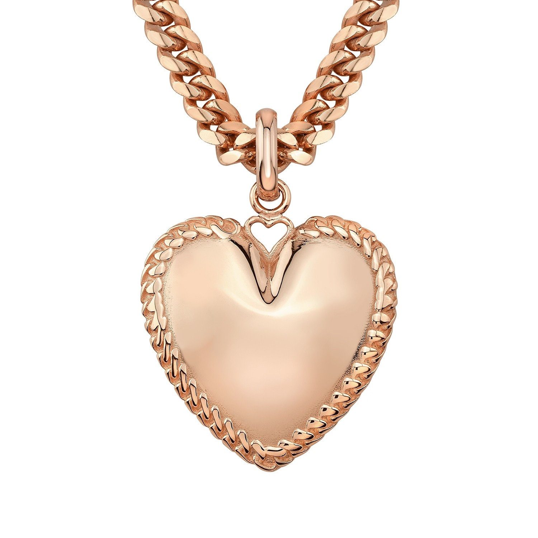 14k Rose Gold Cuban Link Jumbo Puffed Heart Charm