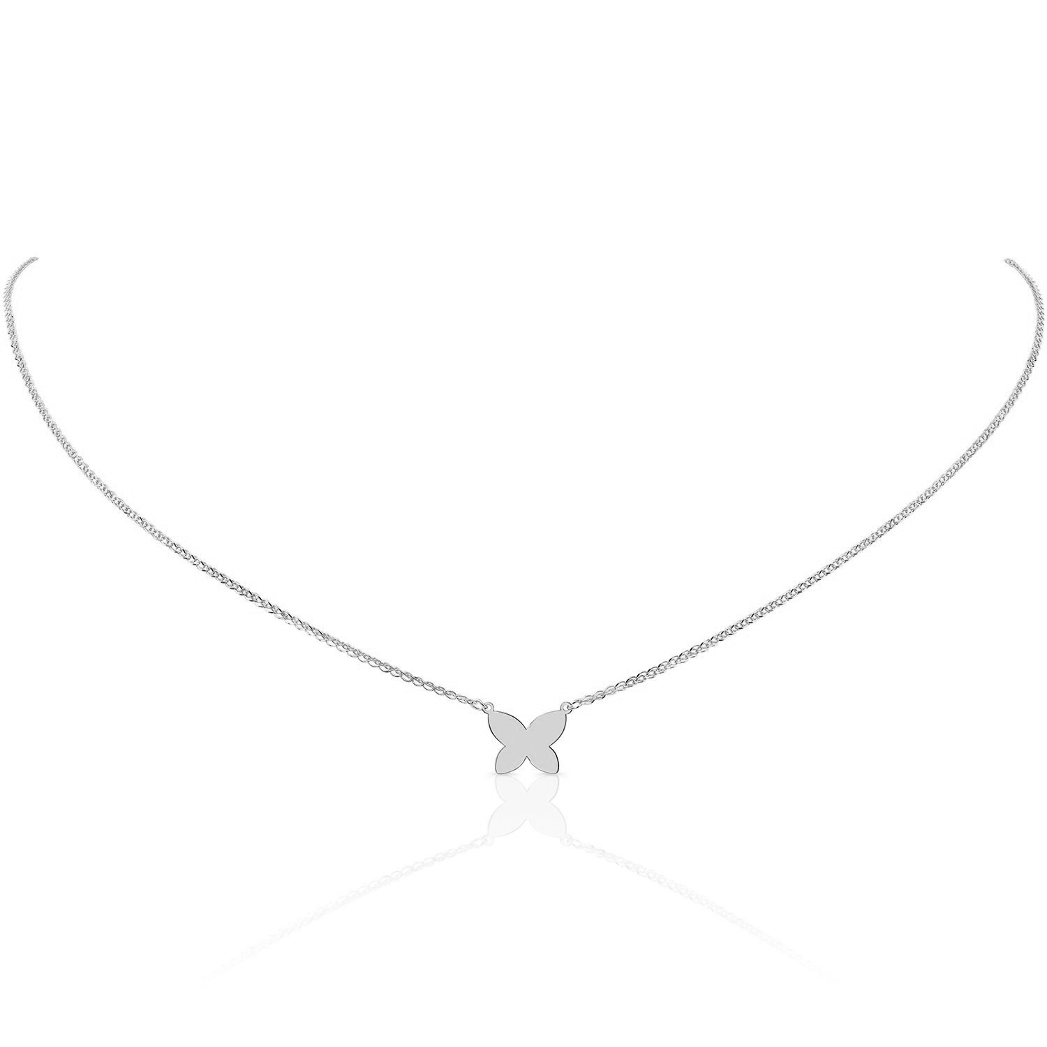 14k Gold White Rhodium Floating Butterfly Necklace