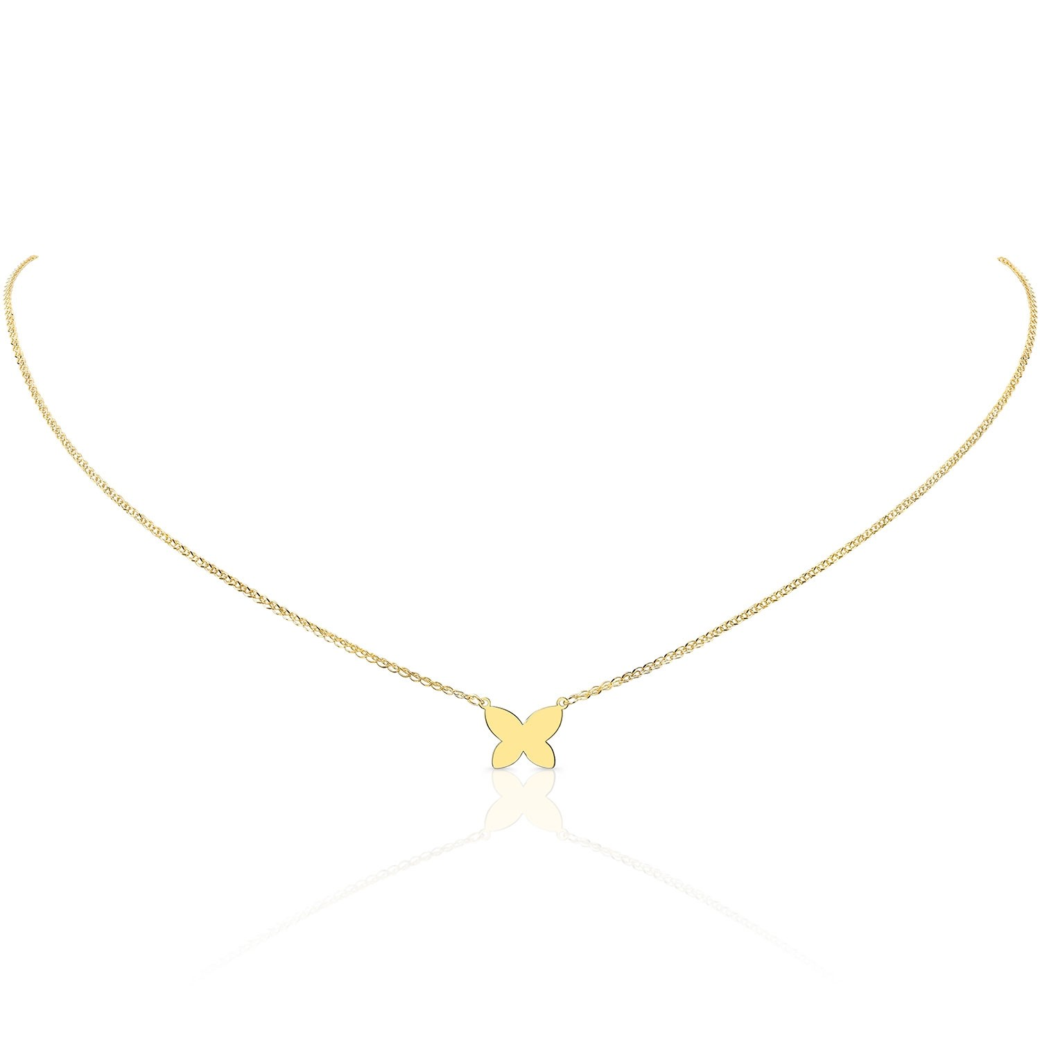14k Yellow Gold Floating Butterfly Necklace