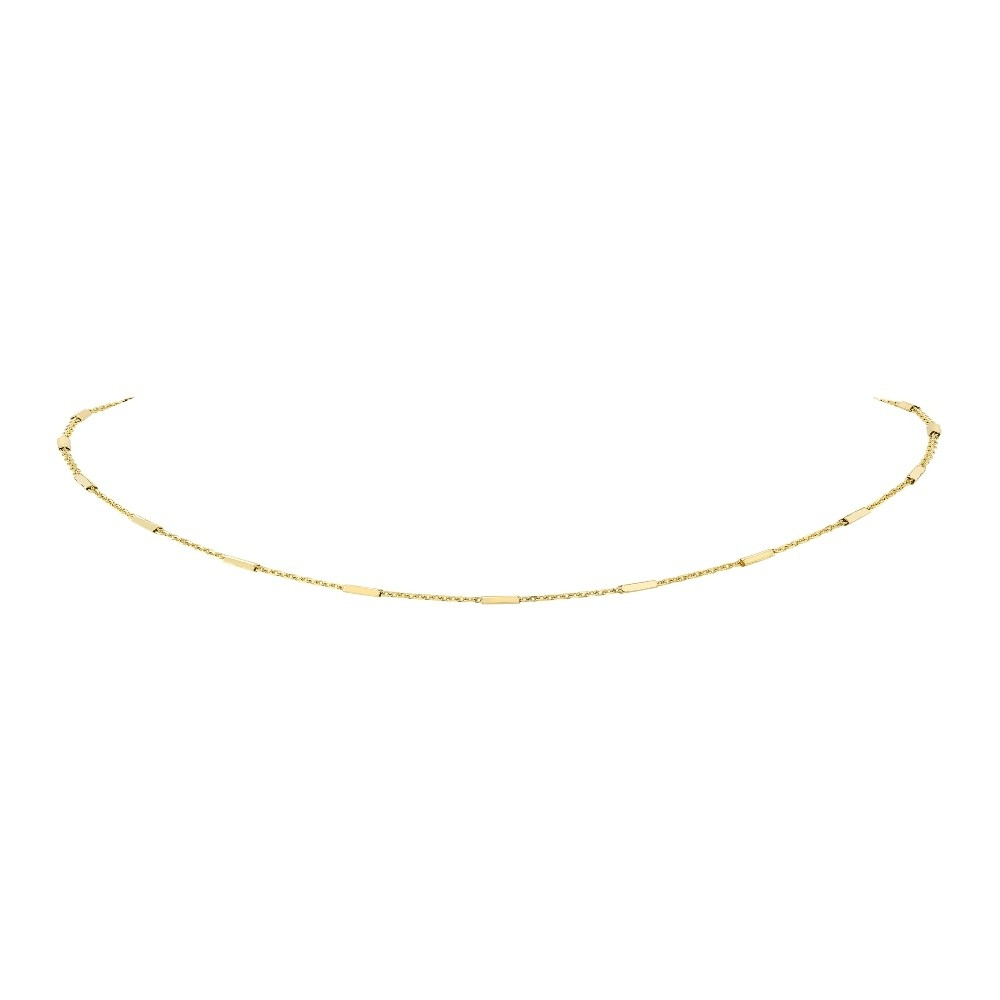14k Yellow Gold Bar Chain Necklace