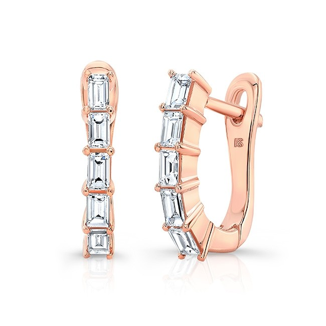 14k Rose Gold Diamond Baguette Huggie Hoops