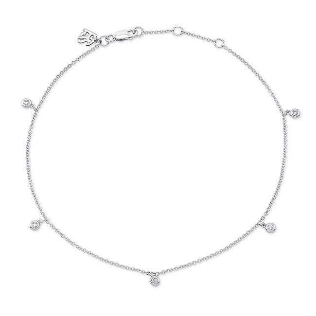 14k White Gold 5 Bezel Diamond Anklet