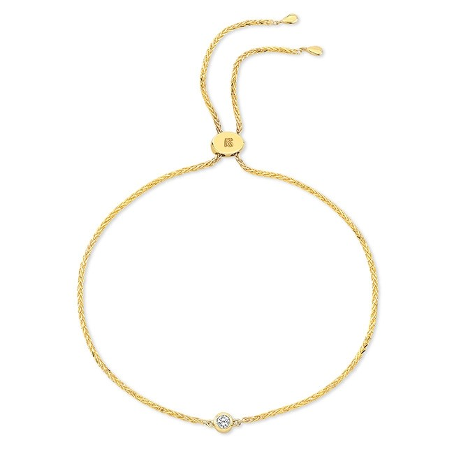 14k Yellow Gold Single Diamond Bezel Bolo Bracelet