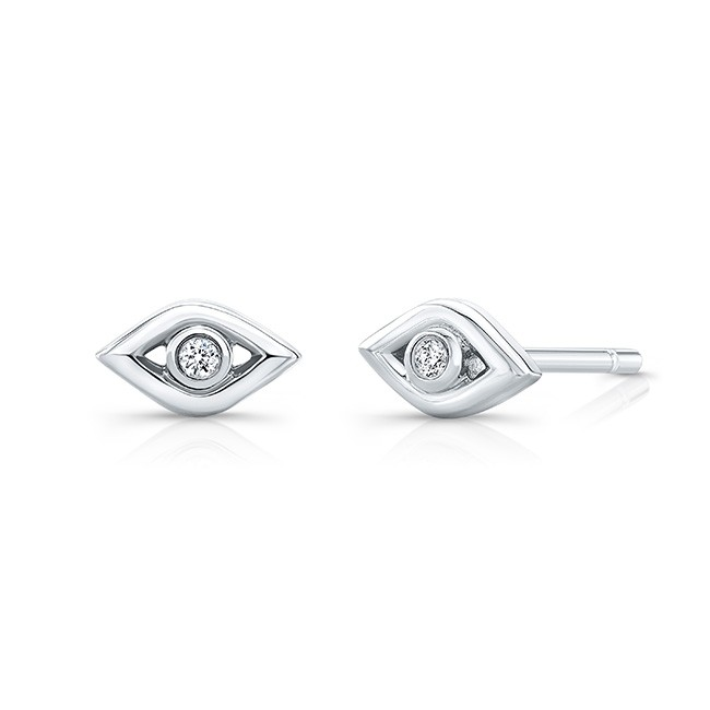14k White Gold Diamond Mini Evil Eye Earrings