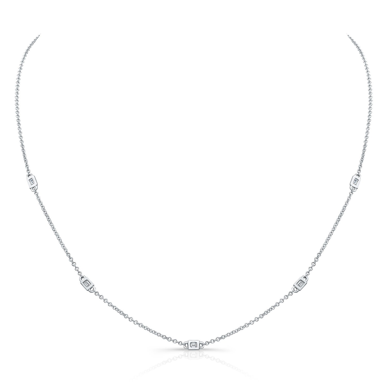 14k White Gold 5 Bezel Baguette Diamond Station Necklace