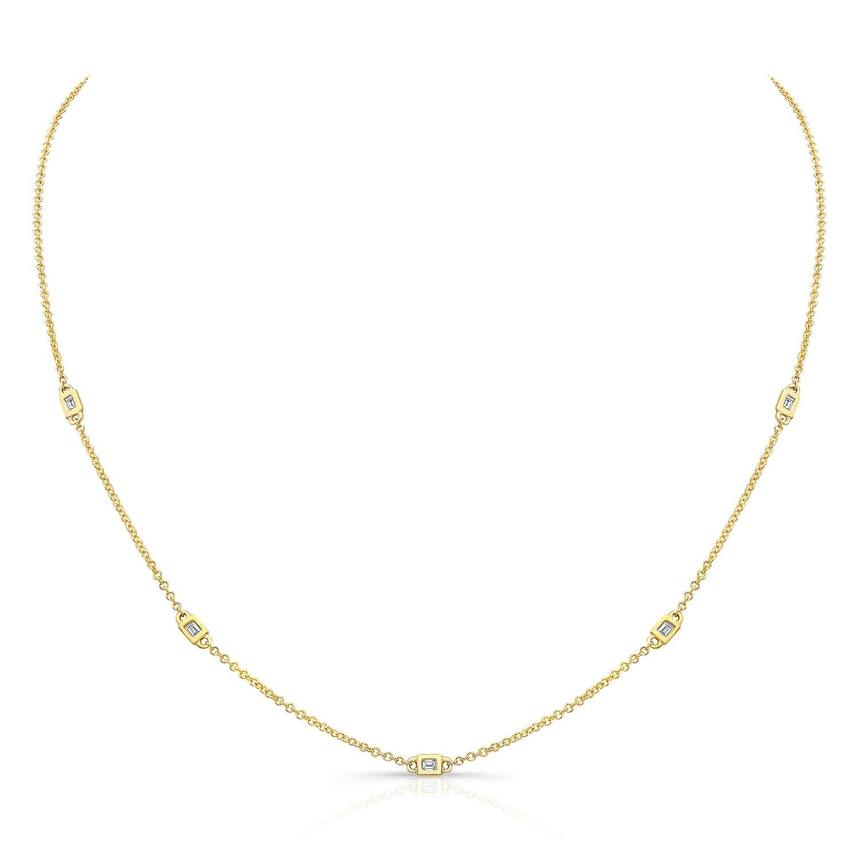 14k Yellow Gold 5 Bezel Baguette Diamond Station Necklace