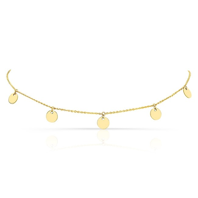 14k Yellow Gold 5 Disc Adjustable Choker
