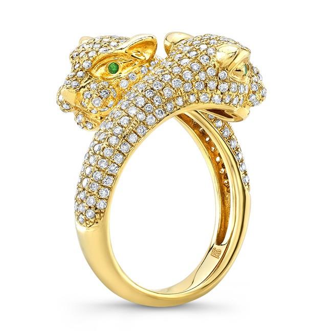 14k Yellow Gold Diamond Emerald Panther Ring