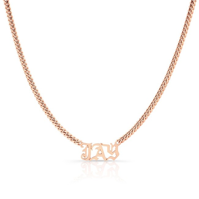 14k Rose Gold Heavy Cuban Link Personalized Nameplate Necklace