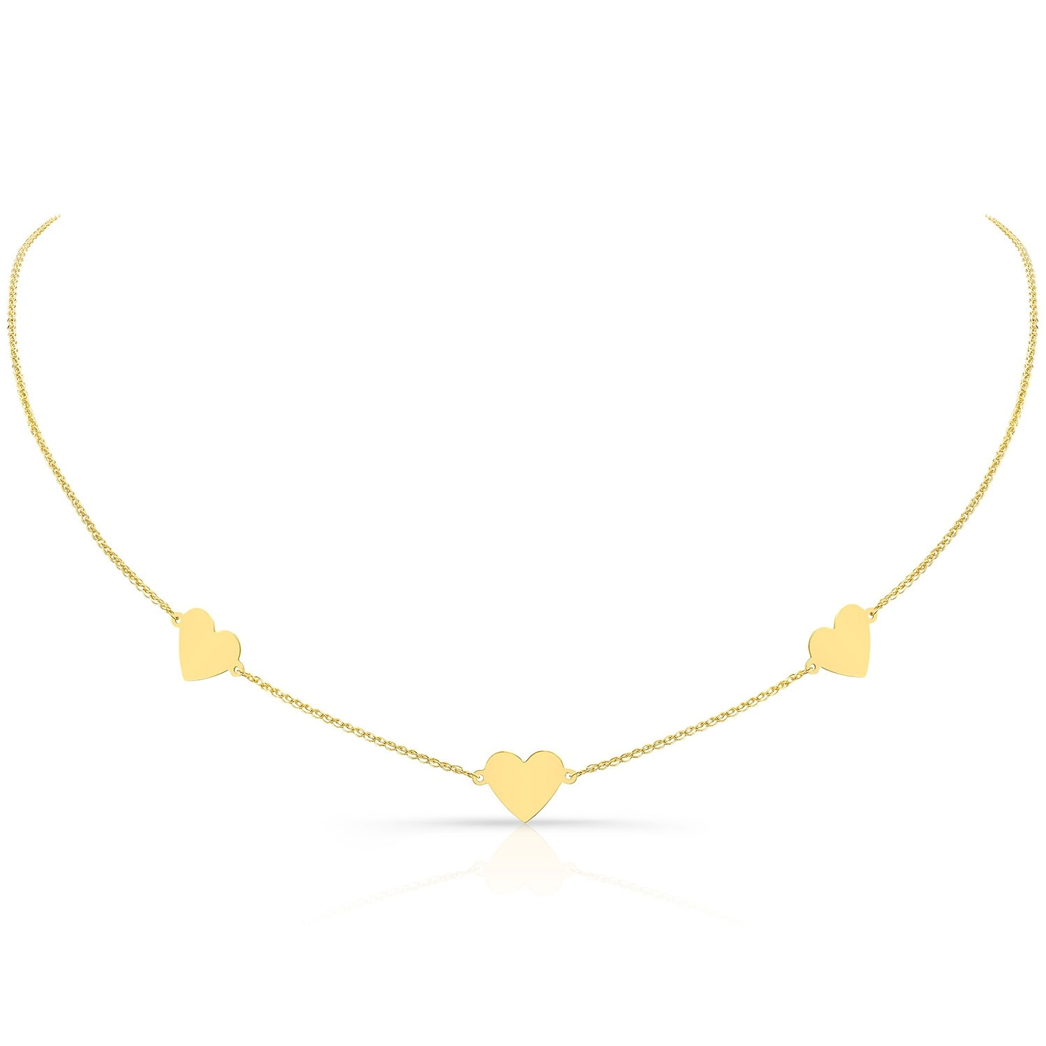 Kids' 14k Yellow Gold Triple Floating Heart Necklace