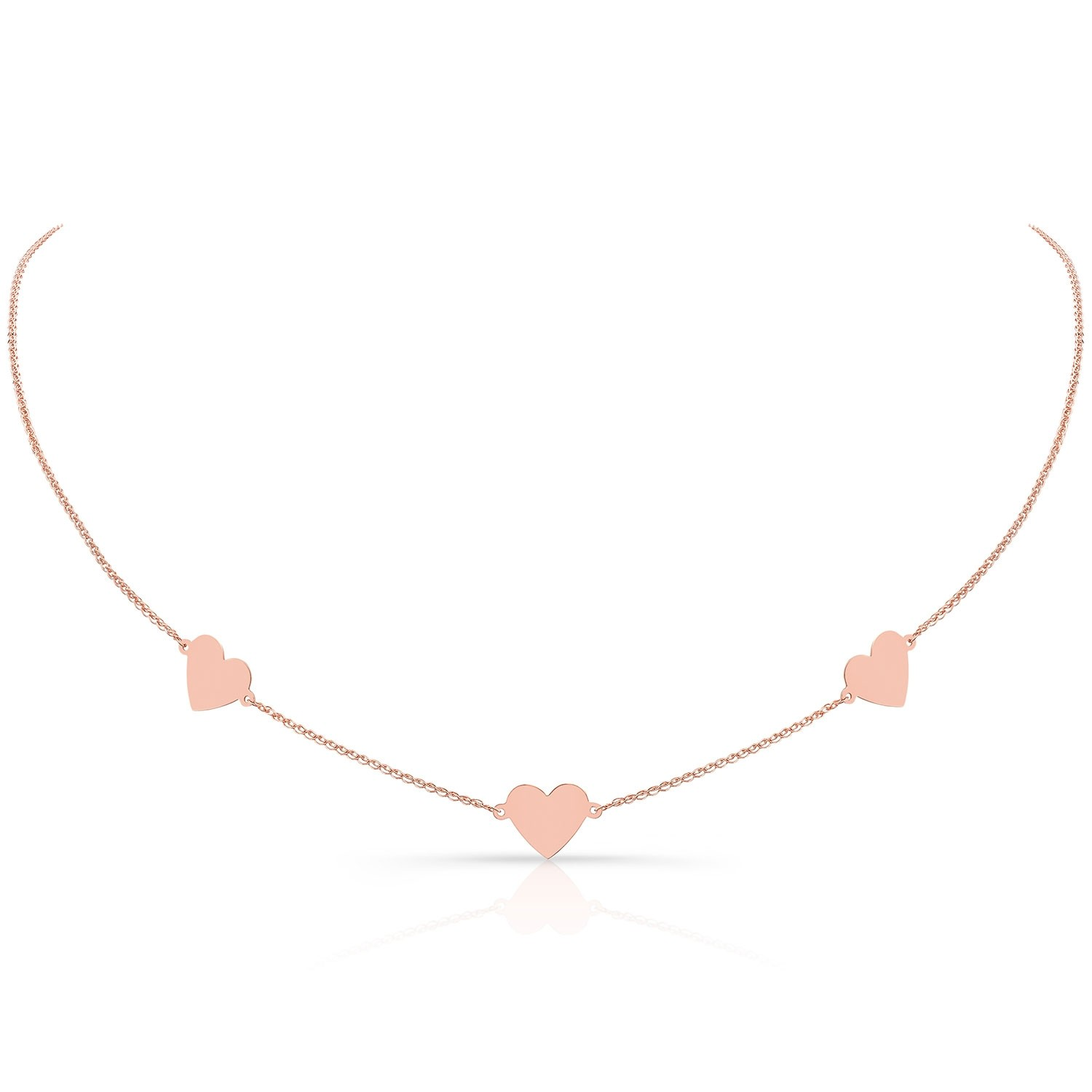 14k Rose Gold Triple Floating Heart Necklace