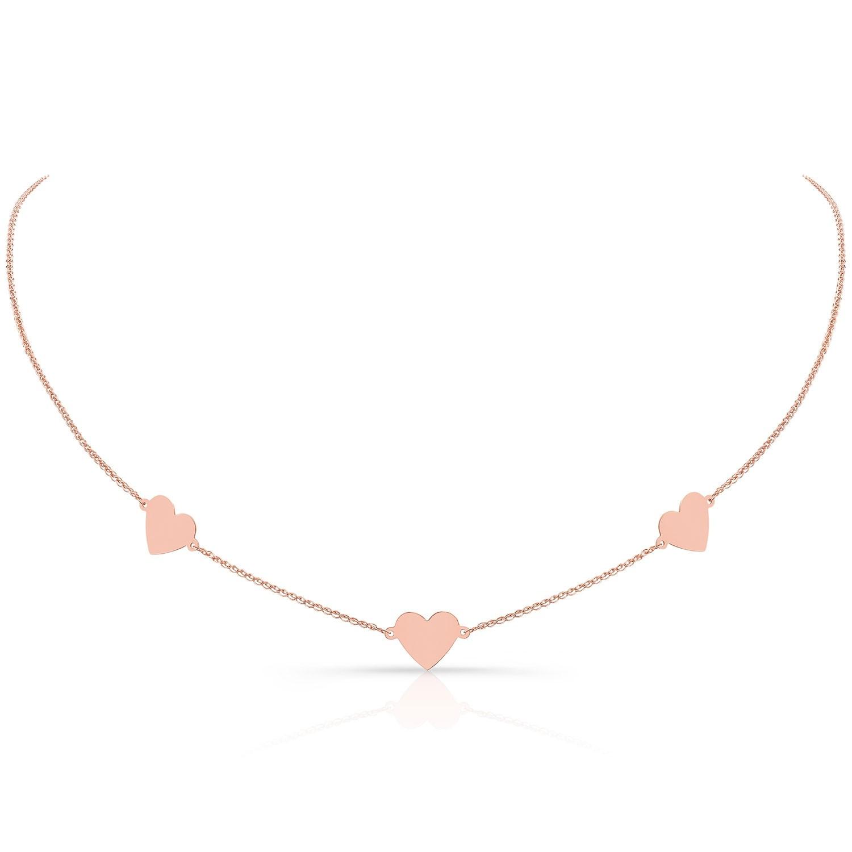 Kids' 14k Rose Gold Triple Floating Heart Necklace