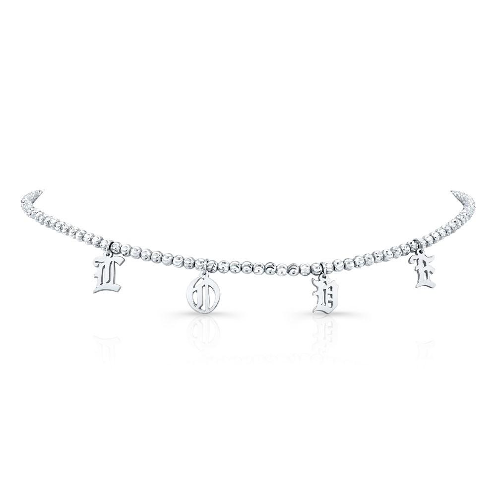 14k White Gold Personalized Diamond Cut Bead Choker