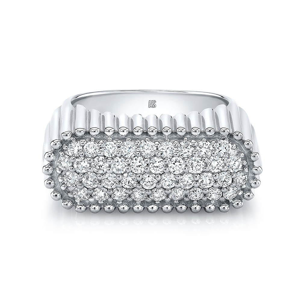 14k White Gold Diamond Fluted Signet Ring