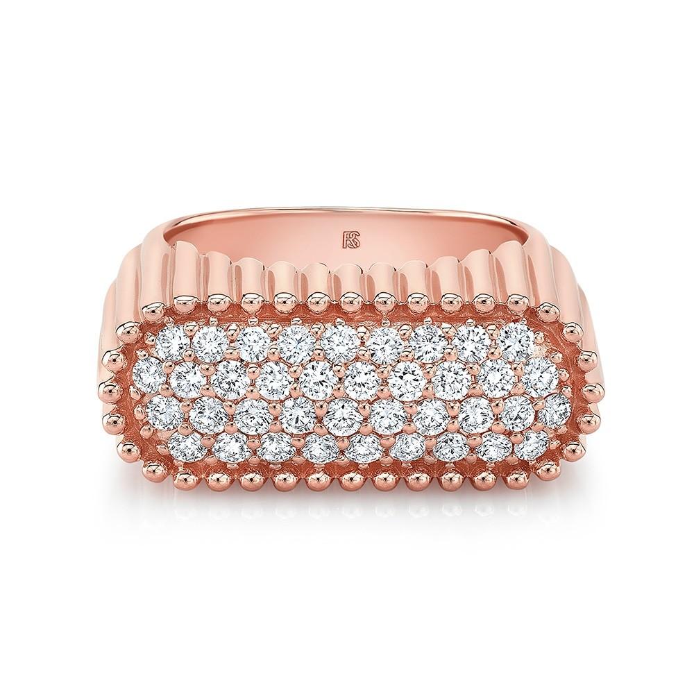 14k Rose Gold Diamond Fluted Signet Ring