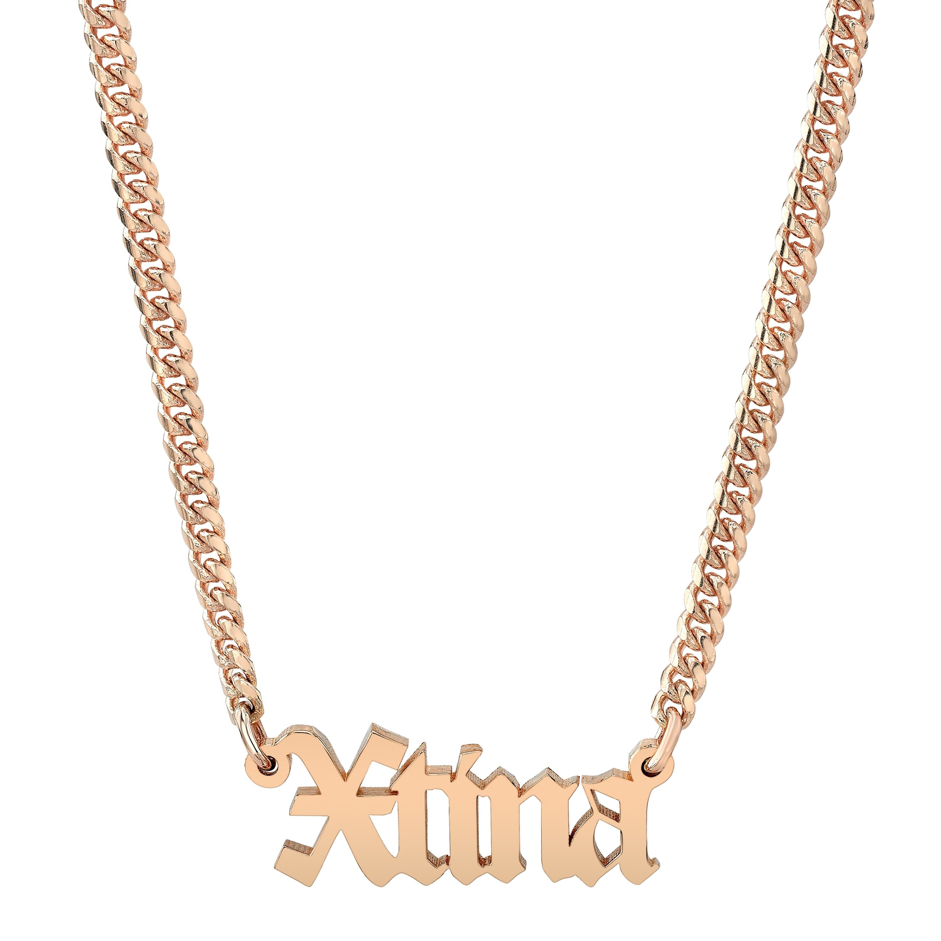 14k Rose Gold Mini Cuban Link Personalized Old English Nameplate Necklace