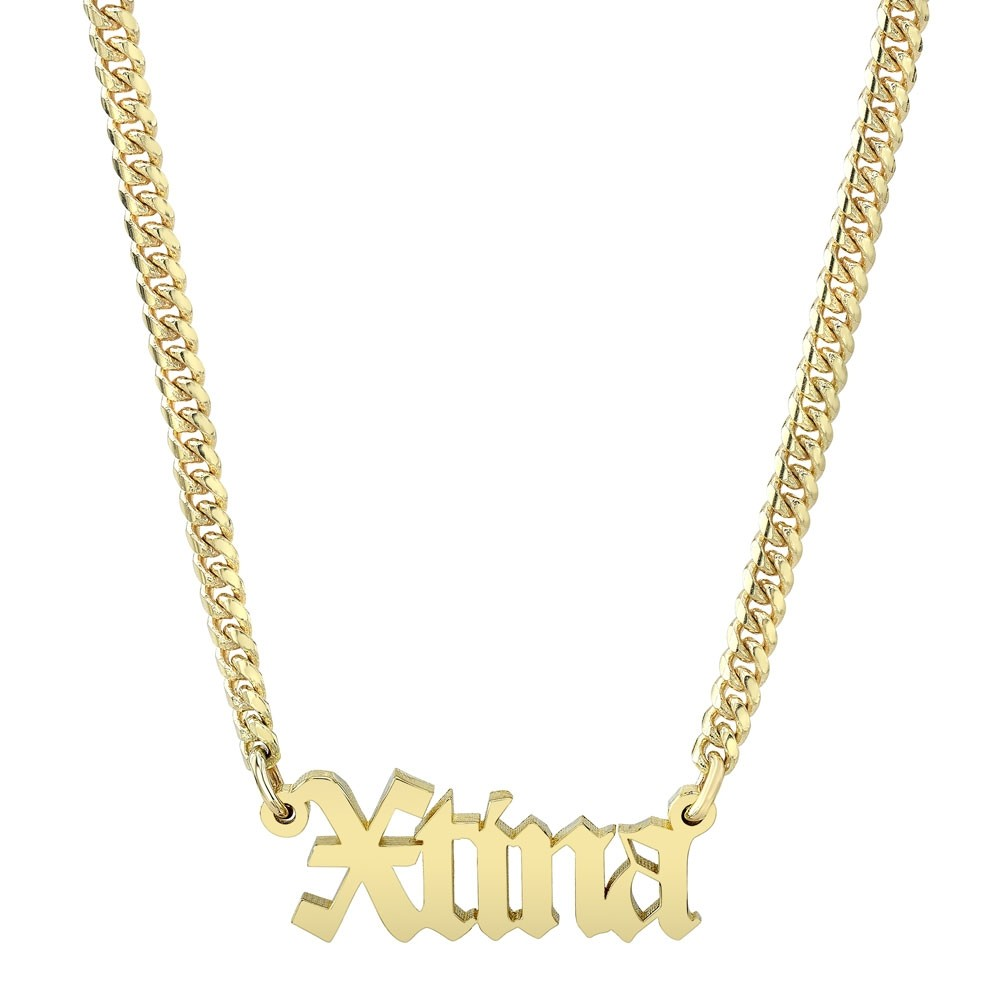14k Yellow Gold Mini Cuban Link Personalized Old English Nameplate Necklace