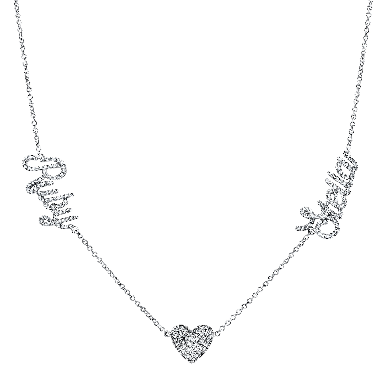 14k White Gold Diamond Heart Script Name Necklace