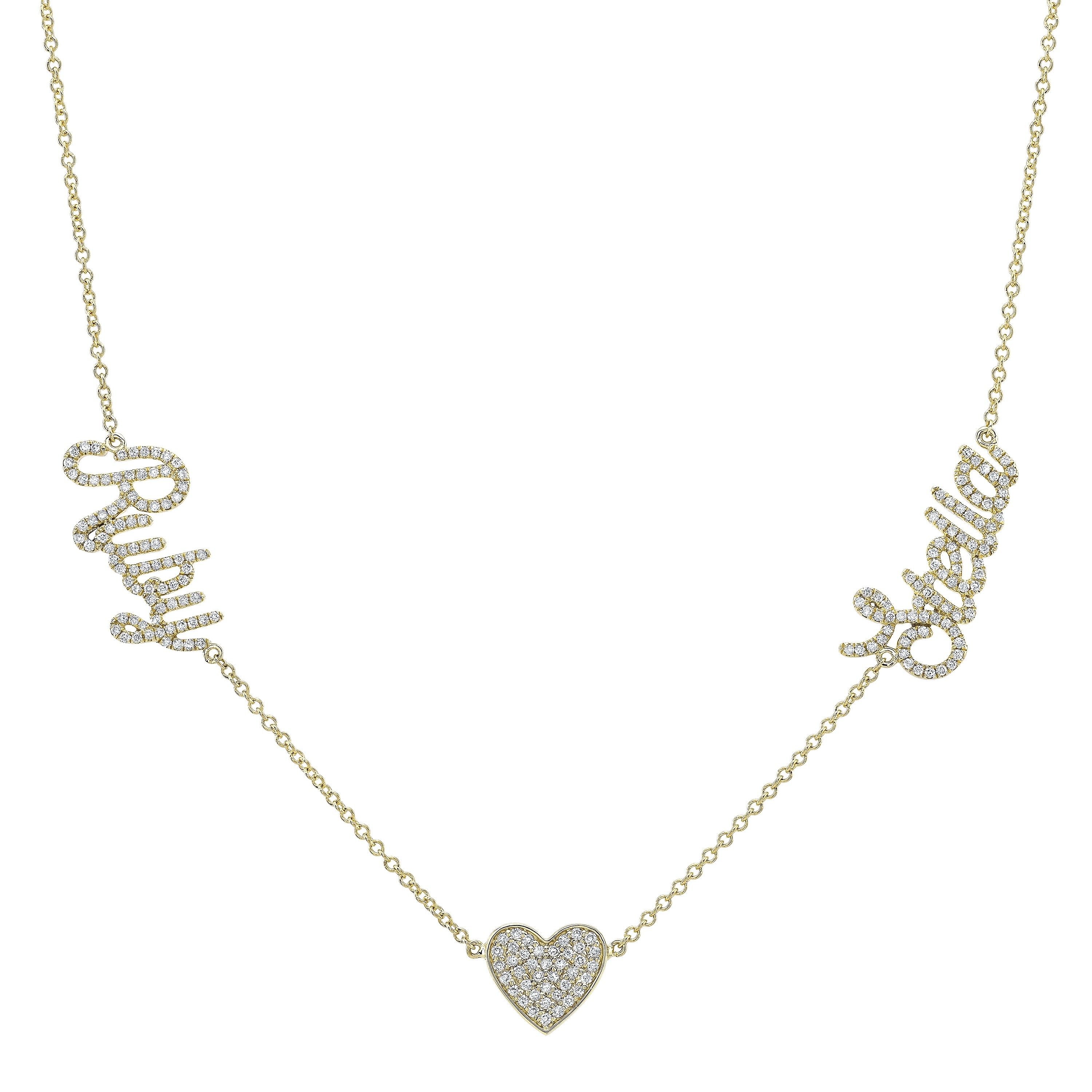 14k Yellow Gold Diamond Heart Script Name Necklace