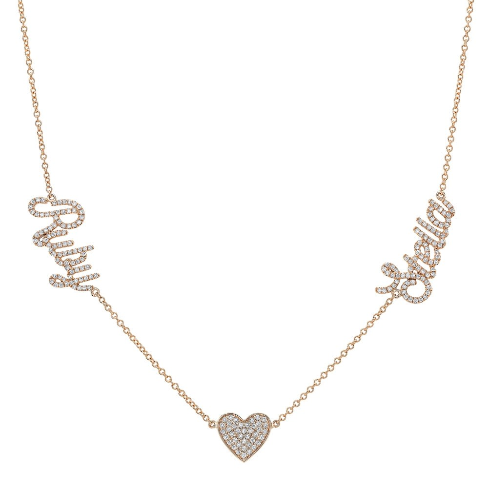 14k Rose Gold Diamond Heart Script Name Necklace