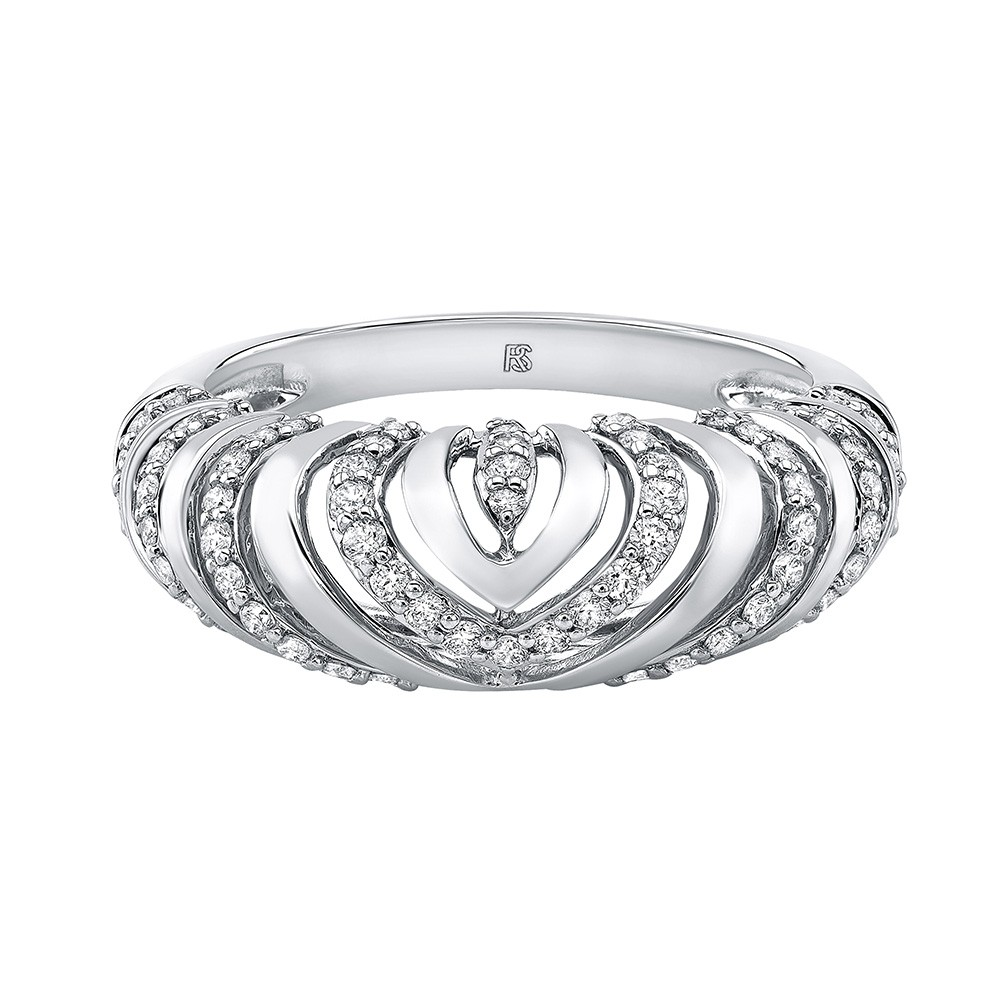 14k White Gold Diamond Chevron Mini Dome Ring