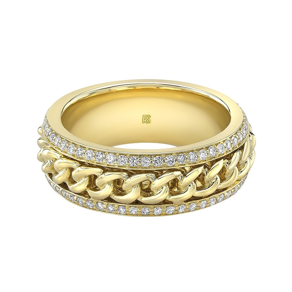 14k Yellow Gold Diamond Cuban Link Eternity Ring