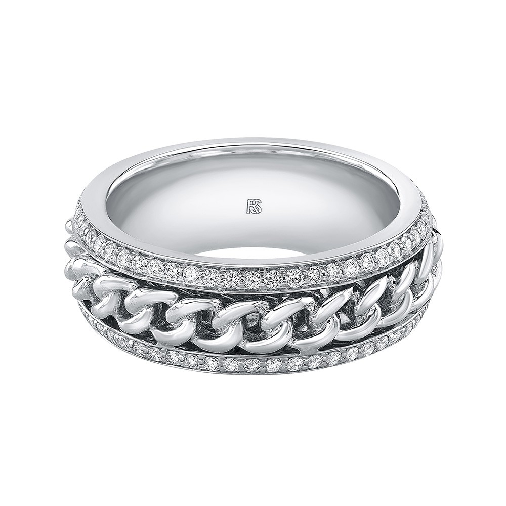 14k White Gold Diamond Cuban Link Eternity Ring