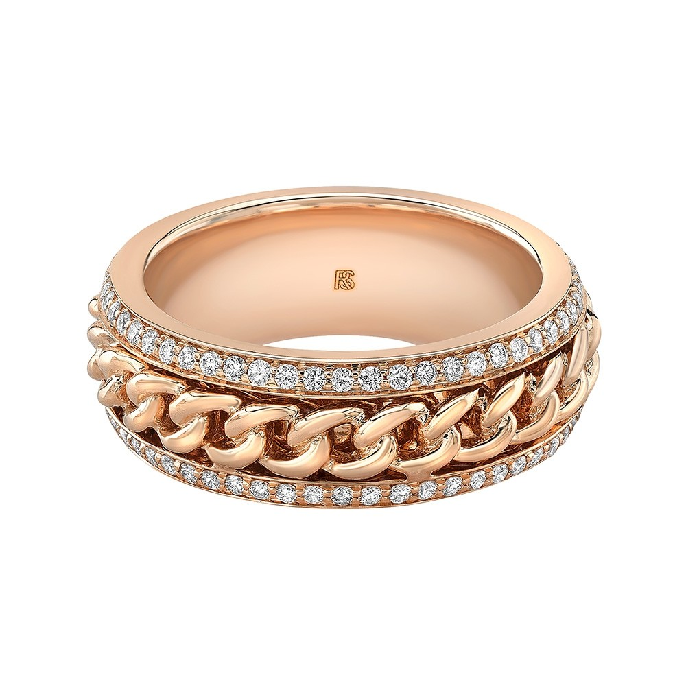 14k Rose Gold Diamond Cuban Link Eternity Ring