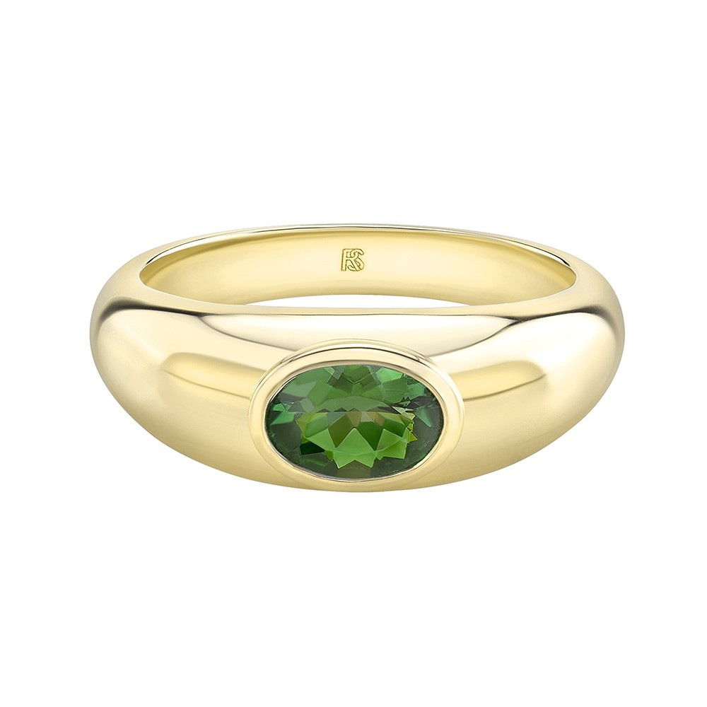 14k Yellow Gold Bezel Set Green Tourmaline Dome Ring