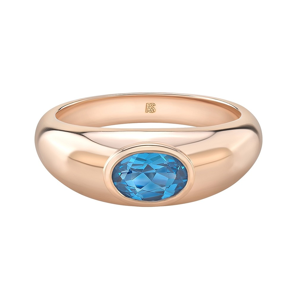 14k Rose Gold Bezel Set Blue Topaz Dome Ring
