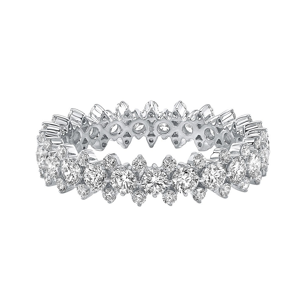 14k White Gold Diamond 3 Row Prong Set Eternity Band