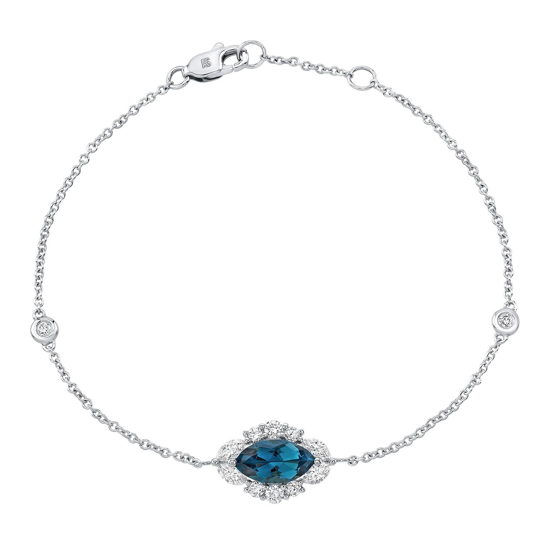 14k White Gold Diamond and Blue Topaz Marquise Evil Eye Bracelet