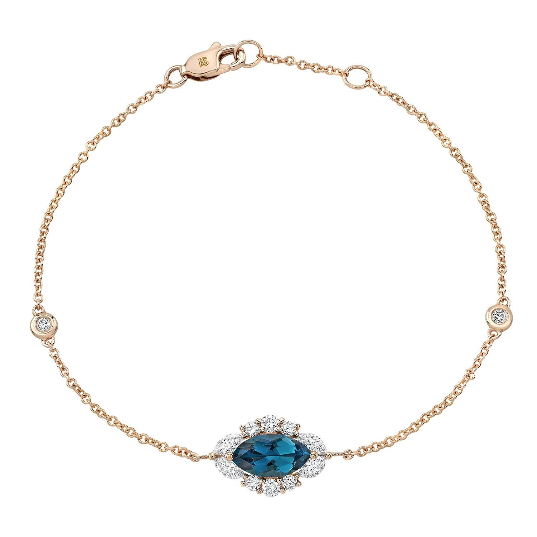 14k Rose Gold Diamond and Blue Topaz Marquise Evil Eye Bracelet