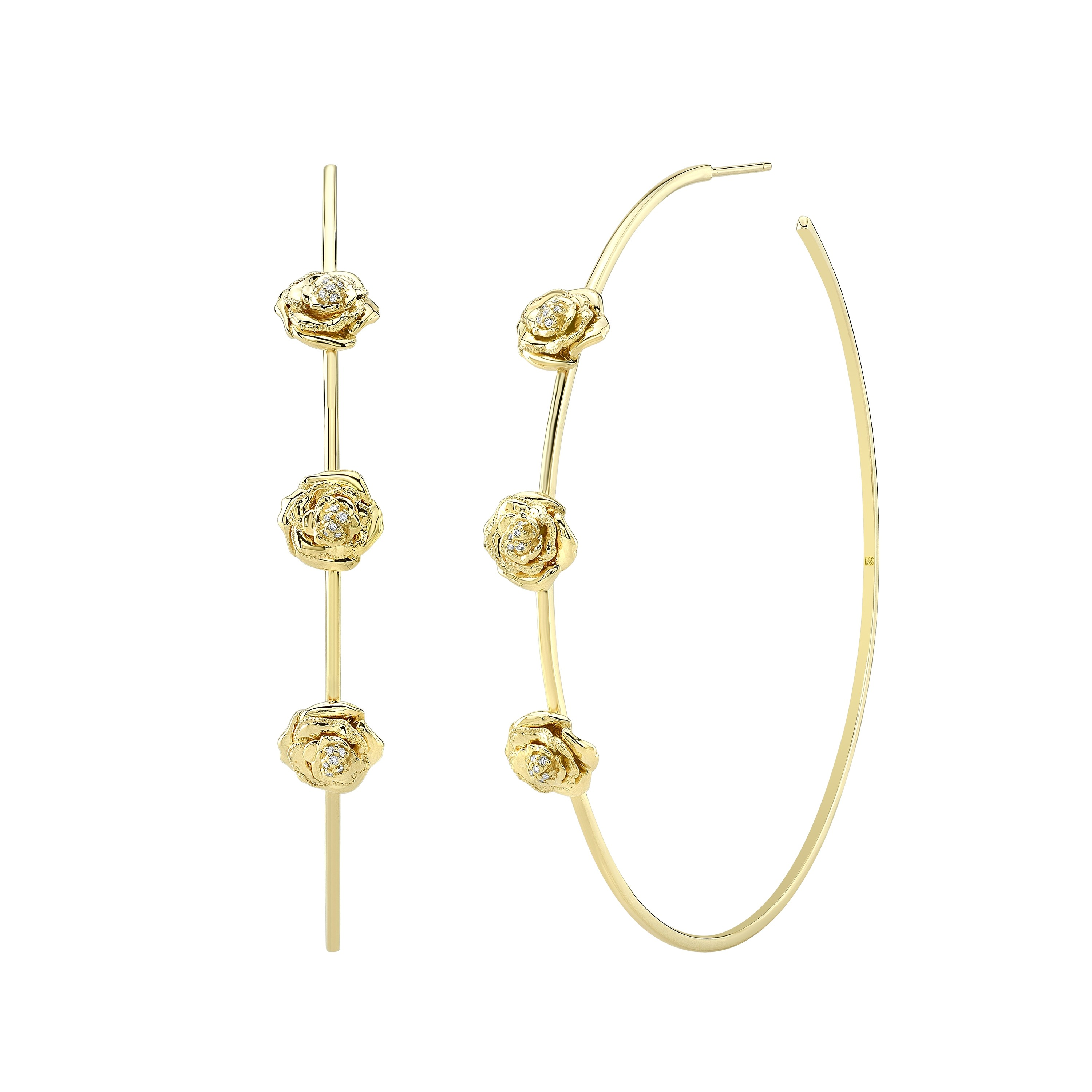 "14k Yellow Gold 2.5"" Diamond Rose Hoop Earrings"