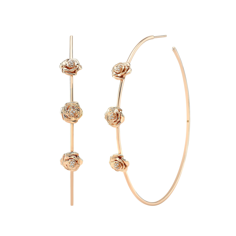 "14k Rose Gold 2.5"" Diamond Rose Hoop Earrings"