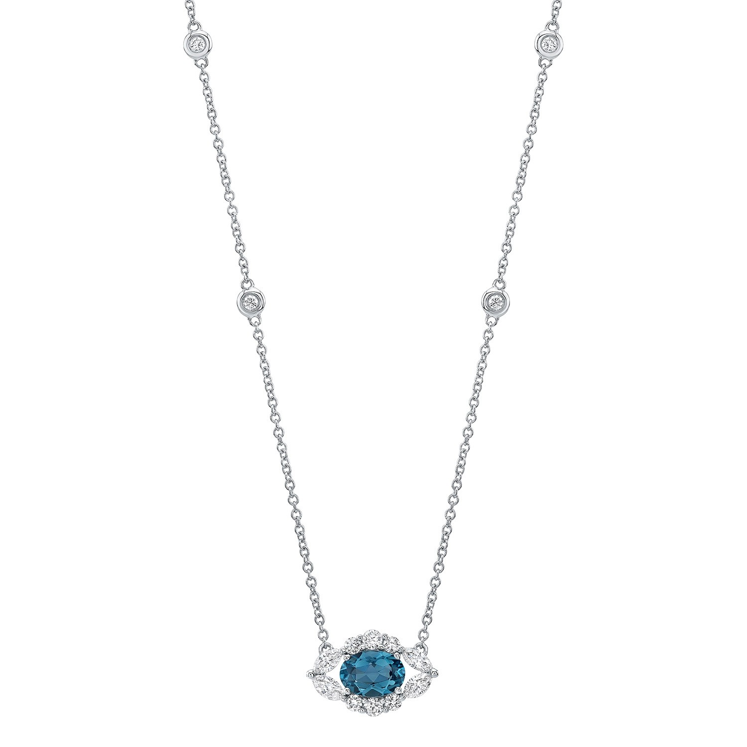 14k White Gold Diamond and Blue Topaz Oval Evil Eye Necklace