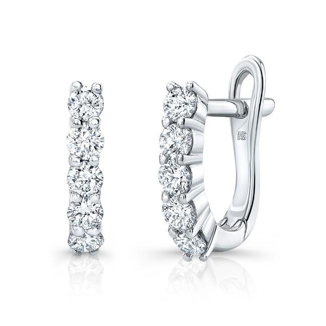 14k White Gold Diamond Eternity Huggie Hoops