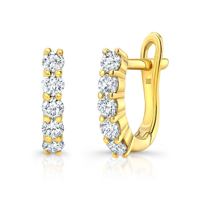 14k Yellow Gold Diamond Eternity Huggie Hoops