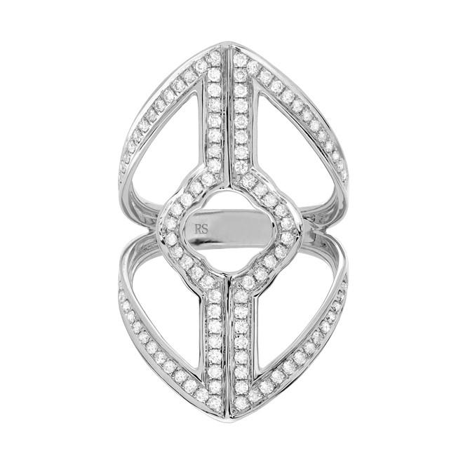 14k White Gold Diamond Shield Ring