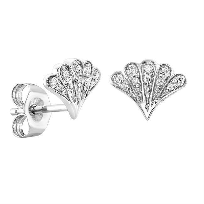 14k White Gold Pave Diamond Shell Stud Earrings