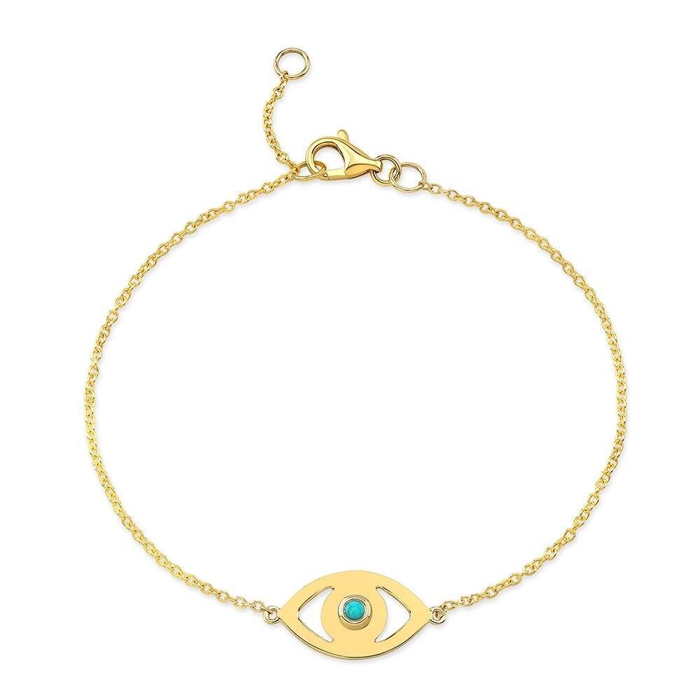 14k Yellow Gold Turquoise Bezel Evil Eye Bracelet