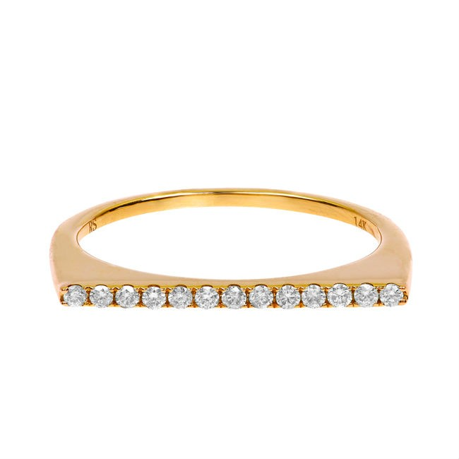 14k Yellow Gold Diamond Stackable Bar Ring