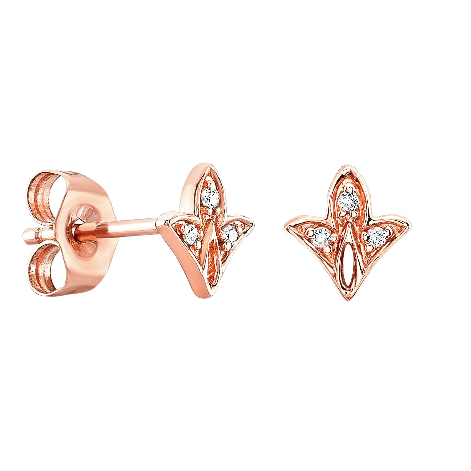 14k Rose Gold Diamond Mini Leaf Stud Earrings